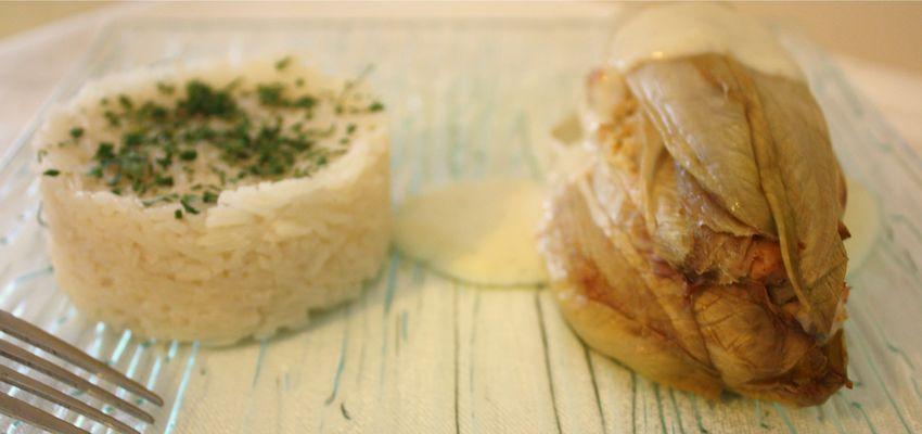 Endives farcies au poulet curry et riz parfumé (sans gluten et sans lactose)